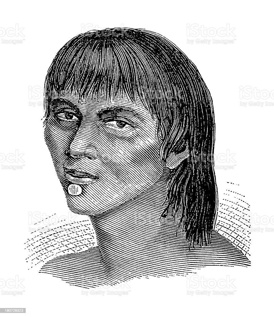 Yuri man, South America (antique wood engraving) royalty-free stock vector art