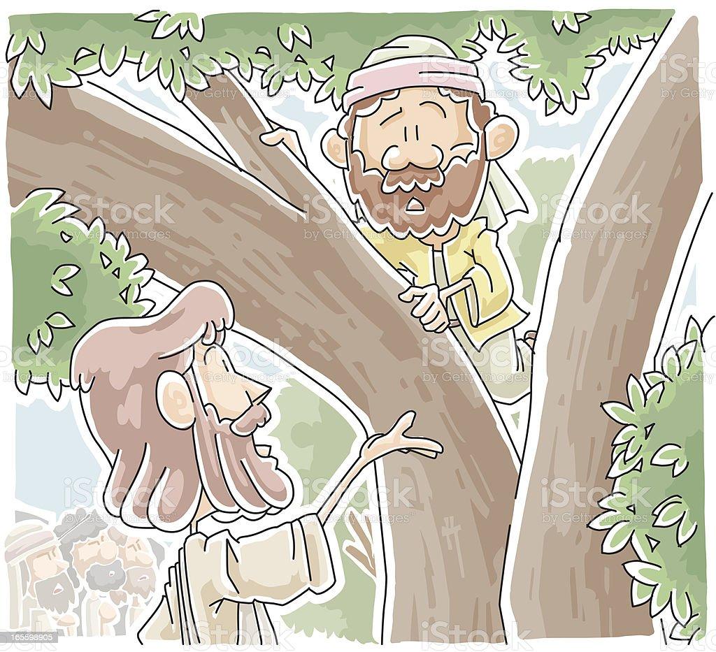 Zacchaeus que climbed un árbol para ver Jesus ilustración de zacchaeus que climbed un árbol para ver jesus y más banco de imágenes de aire libre libre de derechos