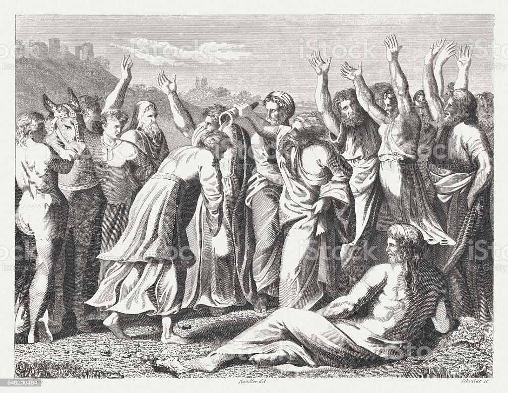 Zadok Anoints Solomon as King (1 Kings 1), published 1841 vector art illustration