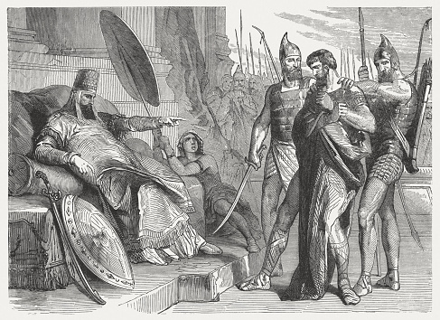 Zedekiah before Nebuchadnezzar (2 Kings 25), wood engraving, published 1886