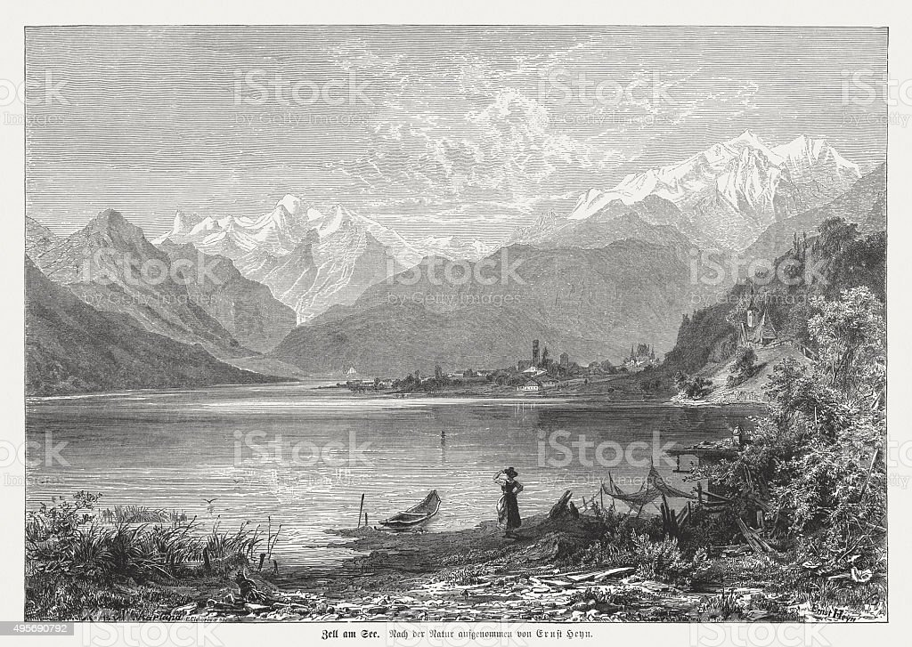 Zell am See, Austria, published in 1874 vector art illustration