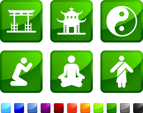 Zen and Buddha royalty free vector icon set stickers