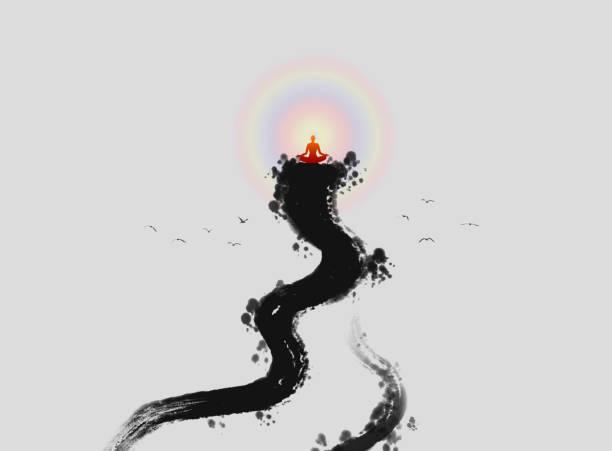 stockillustraties, clipart, cartoons en iconen met zen boeddha lichte inkt schilderij - buddha
