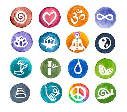 Zen watercolour web icon set