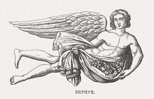Ilustración de Céfiro y más Vectores Libres de Derechos de Anticuado