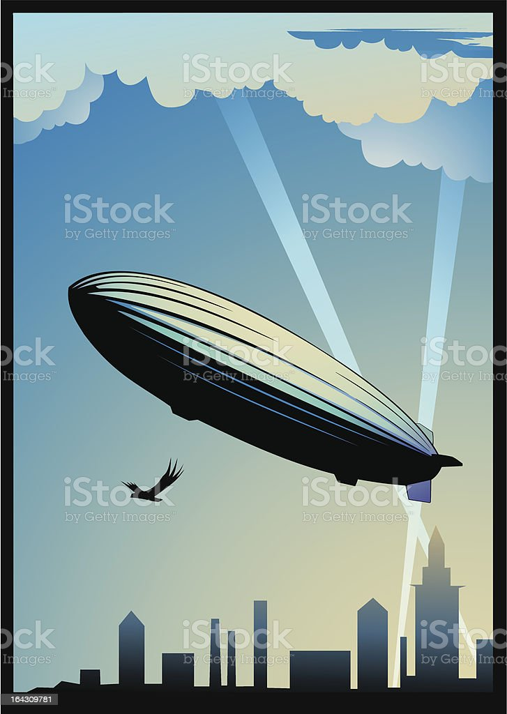 Zeppelin dirigeable vector art illustration