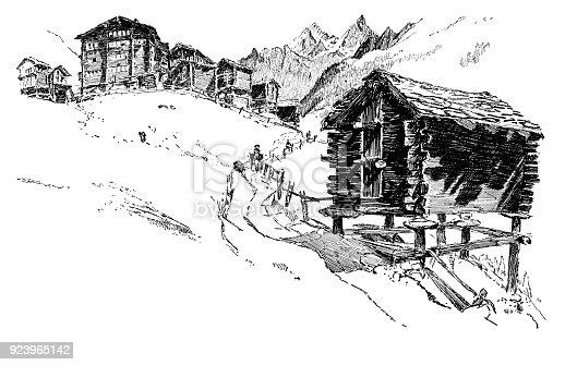 Zermatt - Scanned 1891 Engraving