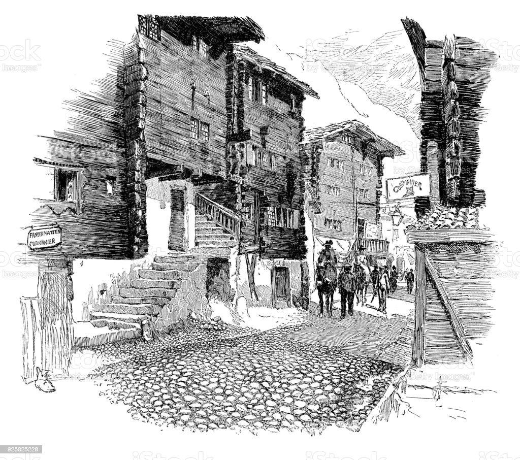 Zermatt vector art illustration