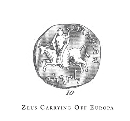 Zeus Carrying off Europa, Legendary Scenes and Figures from Greek and Roman Mythology Engraving Antique Illustration, Published 1851