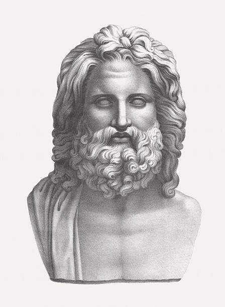 Zeus - supreme god of Greek mythology, published c. 1830 vector art illustration