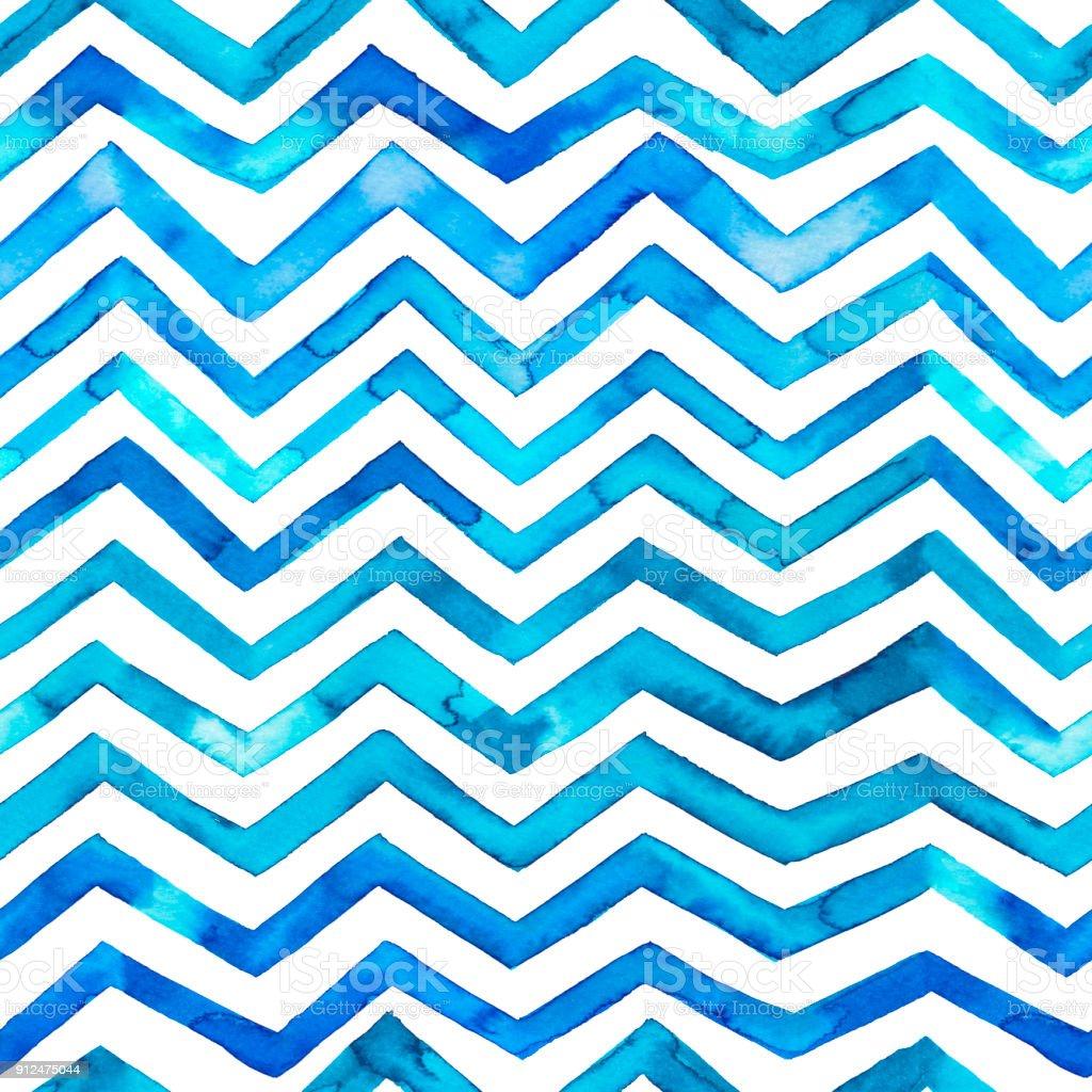 Zig zag blue watercolor seamless pattern. vector art illustration