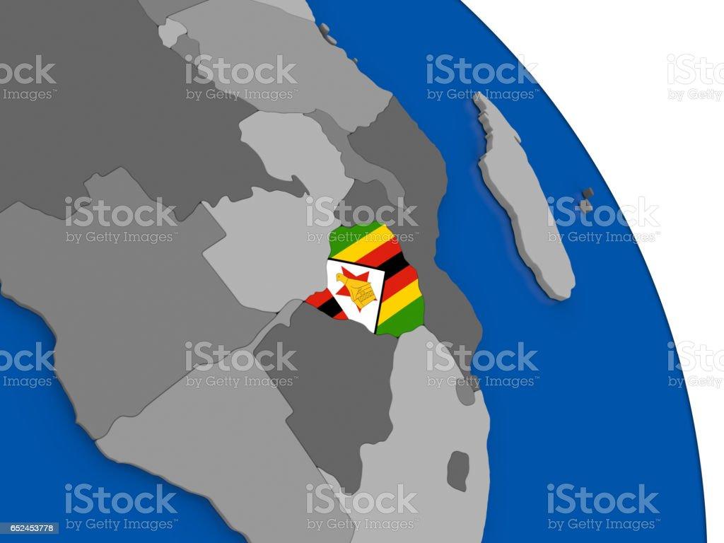 Zimbabwe and its flag on globe vector art illustration