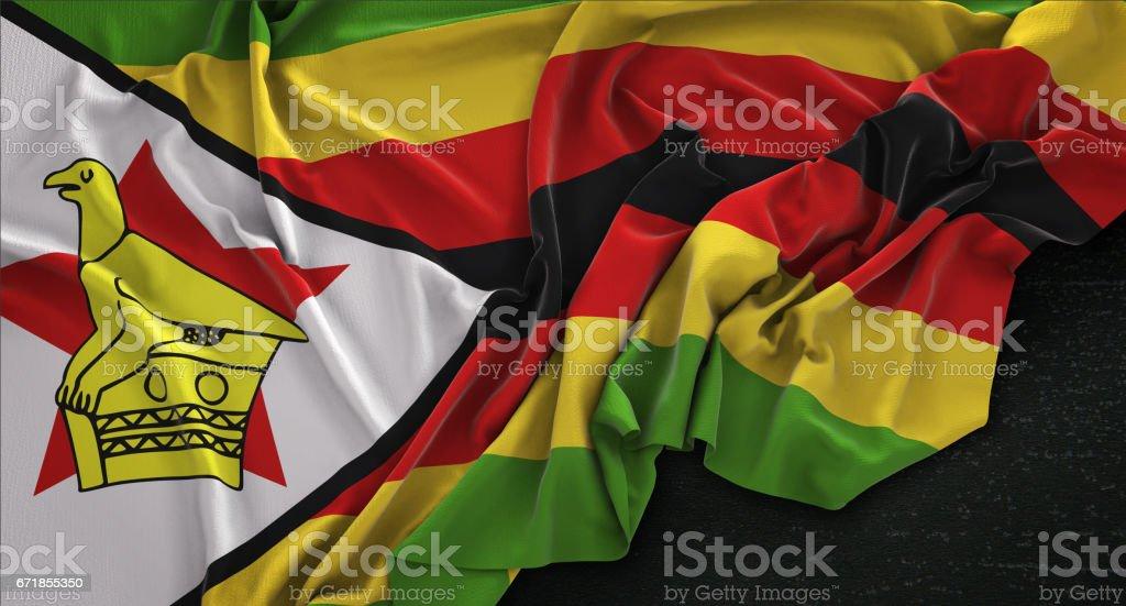 Zimbabwe Flag Wrinkled On Dark Background 3D Render vector art illustration