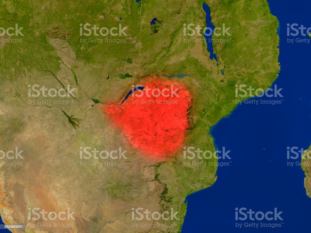Zimbabwe from space in red vector art illustration