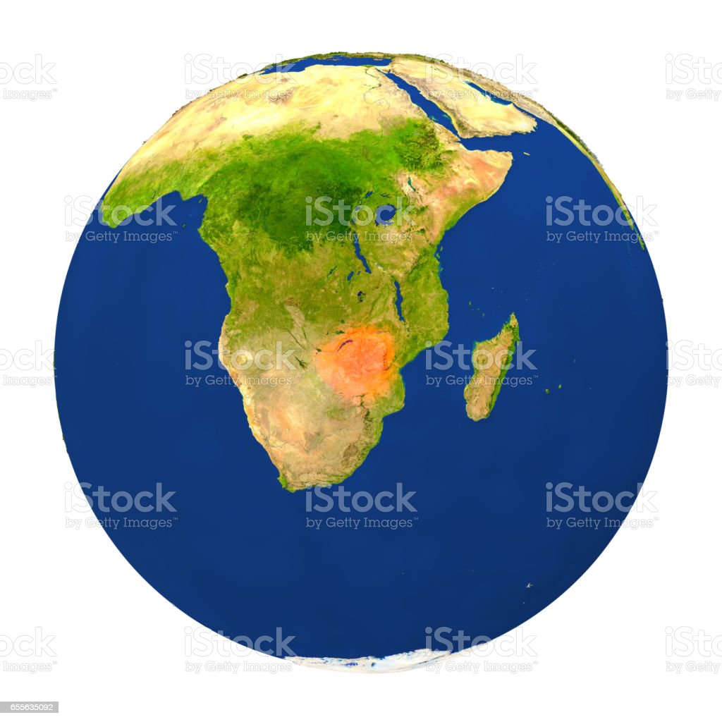 Zimbabwe highlighted on Earth vector art illustration