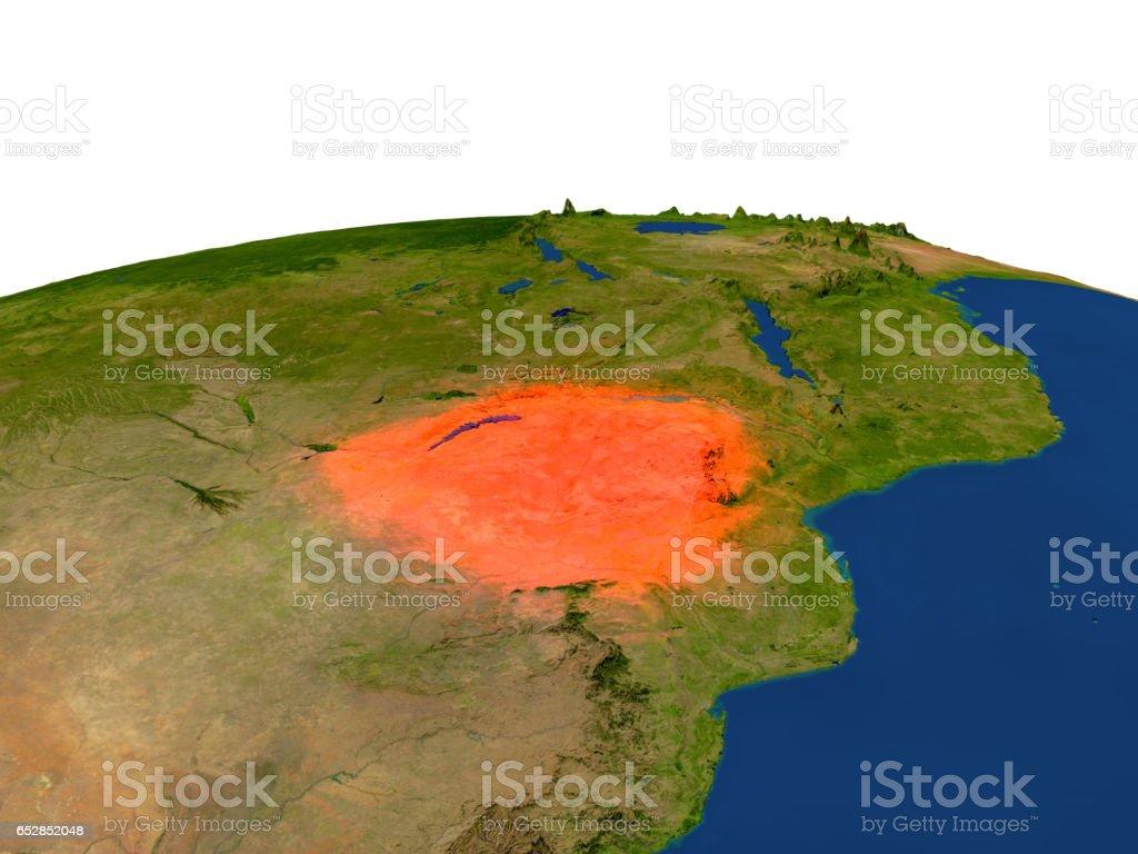 Zimbabwe in red from orbit vector art illustration