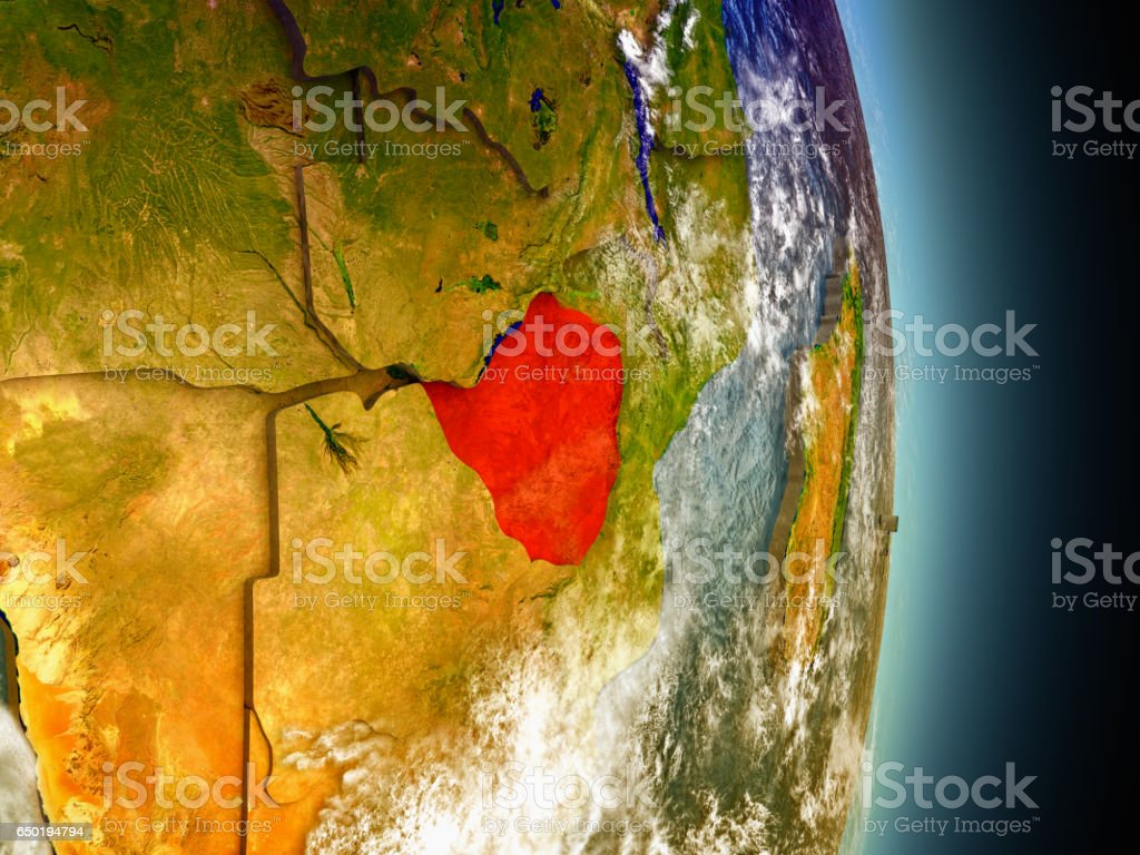 Zimbabwe in red from space vector art illustration