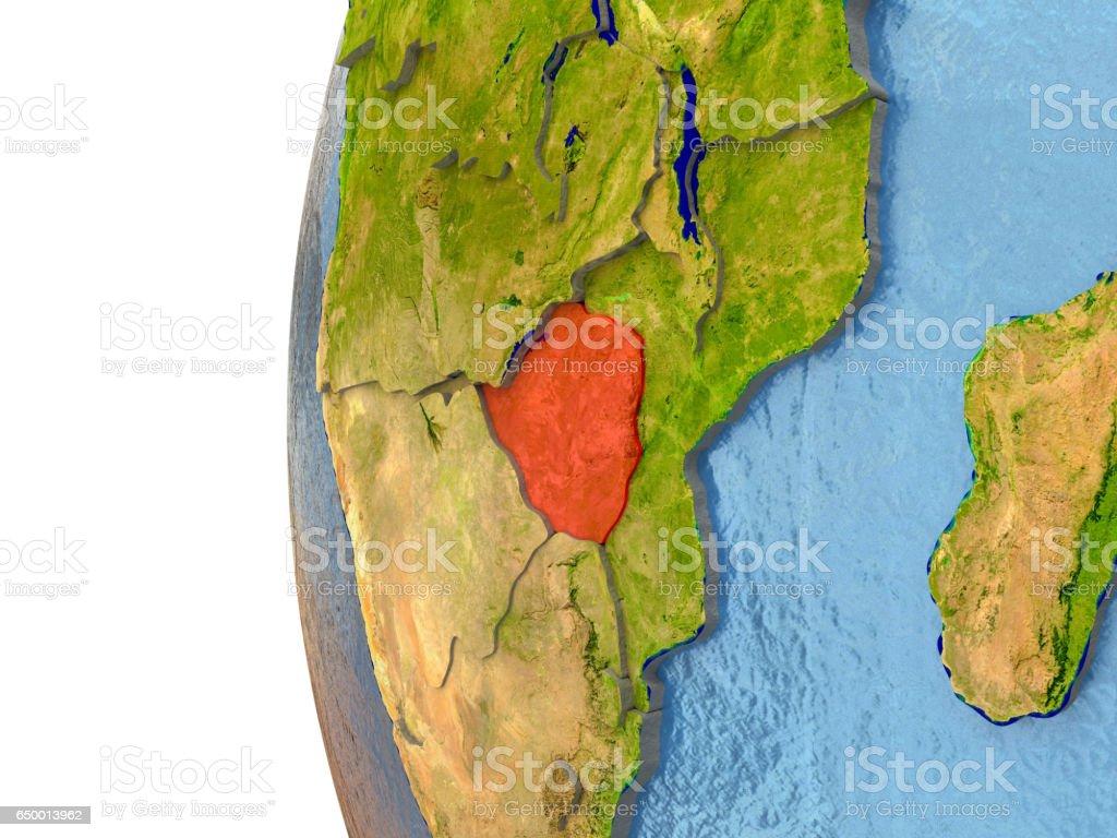 Zimbabwe in red vector art illustration