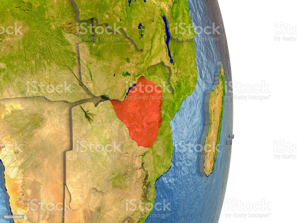 Zimbabwe in red on Earth vector art illustration