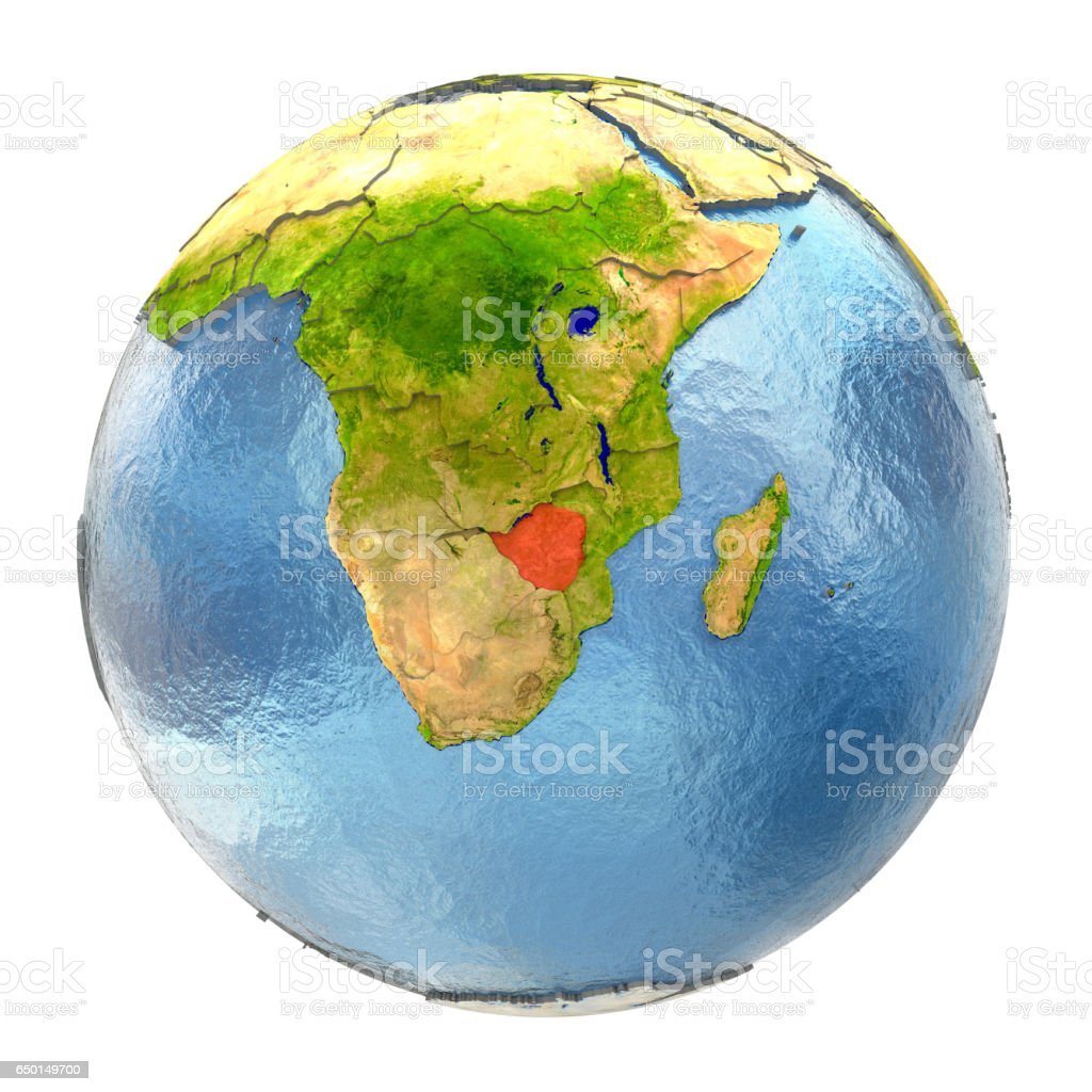 Zimbabwe in red on full Earth vector art illustration