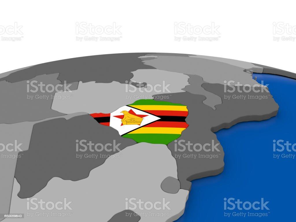 Zimbabwe on 3D globe vector art illustration