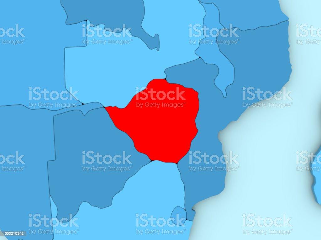Zimbabwe on 3D map vector art illustration