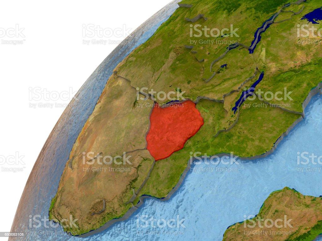 Zimbabwe on Earth vector art illustration