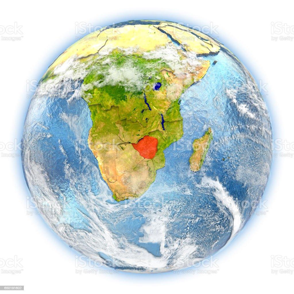 Zimbabwe on Earth isolated vector art illustration