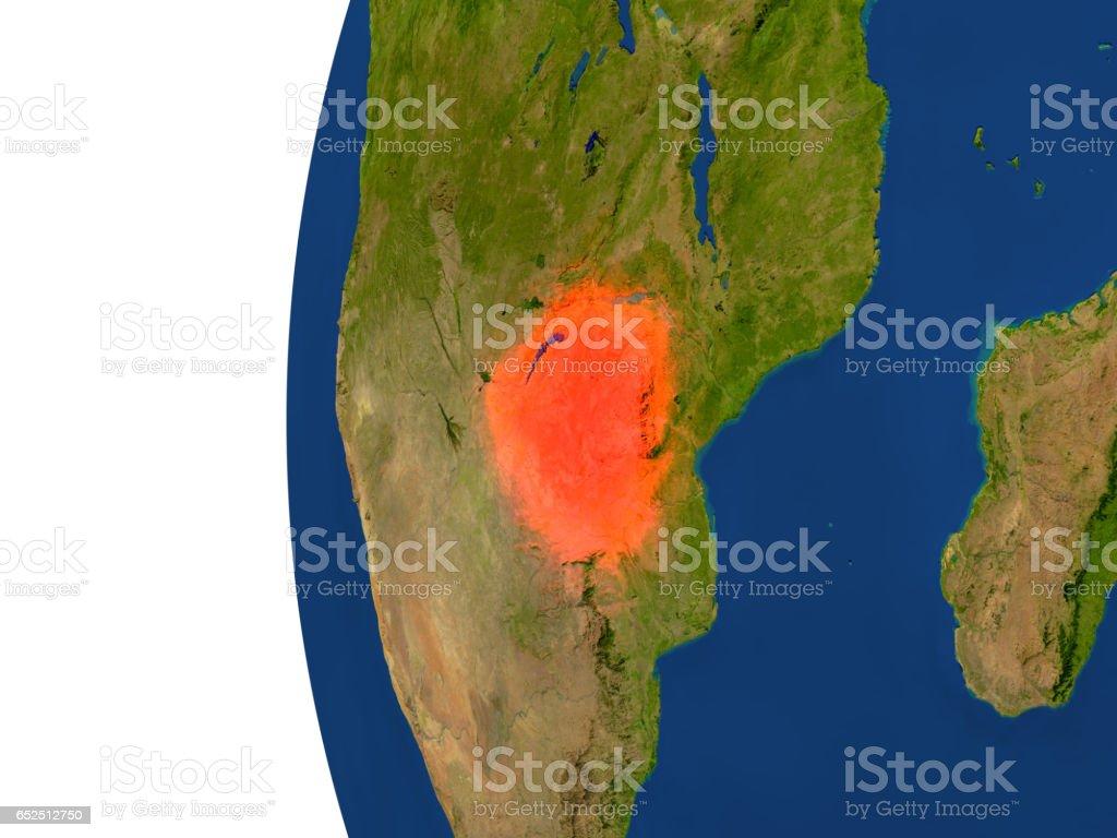 Zimbabwe on globe vector art illustration