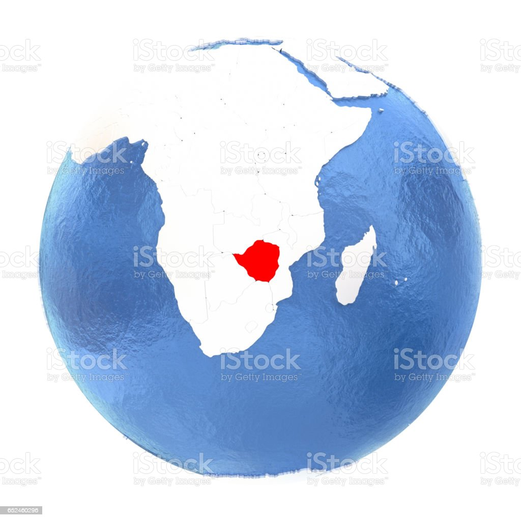 Zimbabwe on globe isolated on white vector art illustration