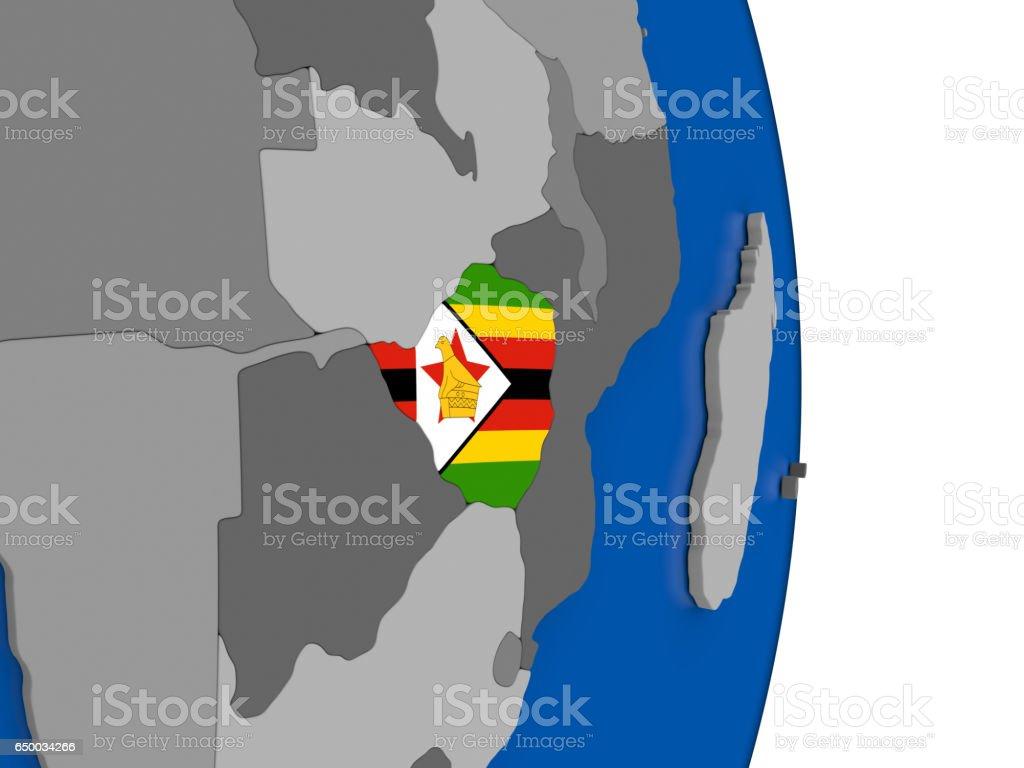 Zimbabwe on globe with flag vector art illustration