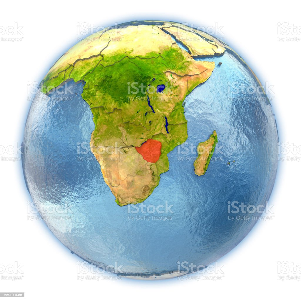 Zimbabwe on isolated globe vector art illustration