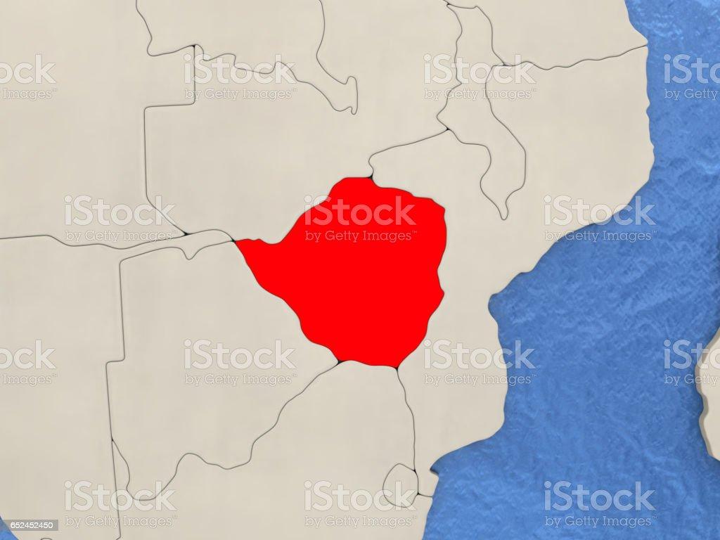 Zimbabwe on map vector art illustration