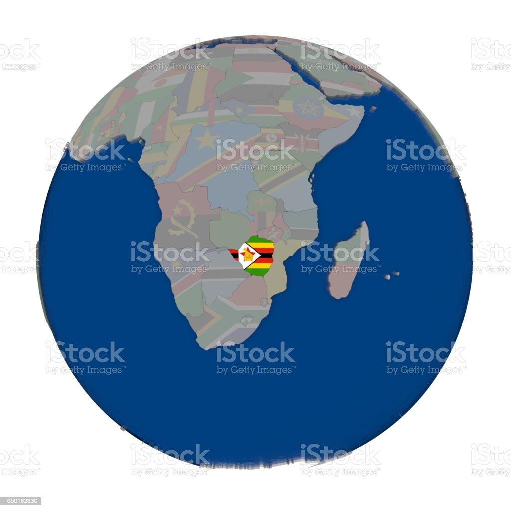 Zimbabwe on political globe vector art illustration