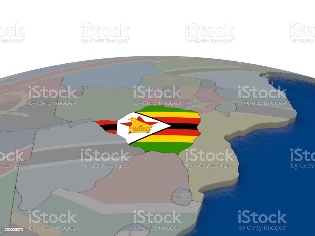 Zimbabwe with flag vector art illustration