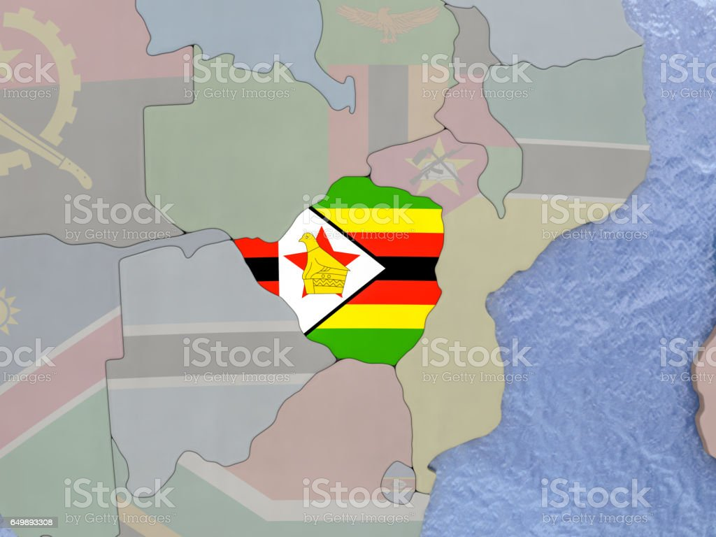 Zimbabwe with flag on globe vector art illustration