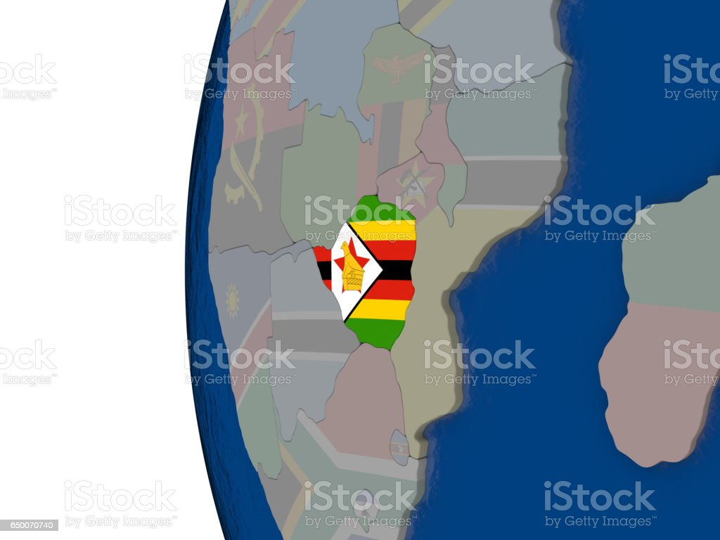 Zimbabwe with national flag vector art illustration