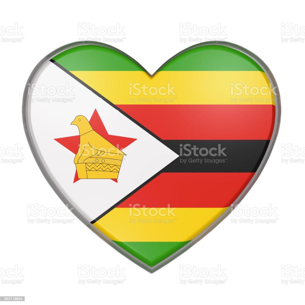 Zimbawe heart vector art illustration