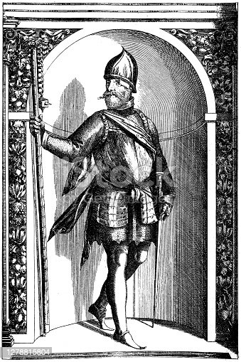 Illustration of a Ziska. Shown in his armor kept at Ambras Castle in Tyrol
