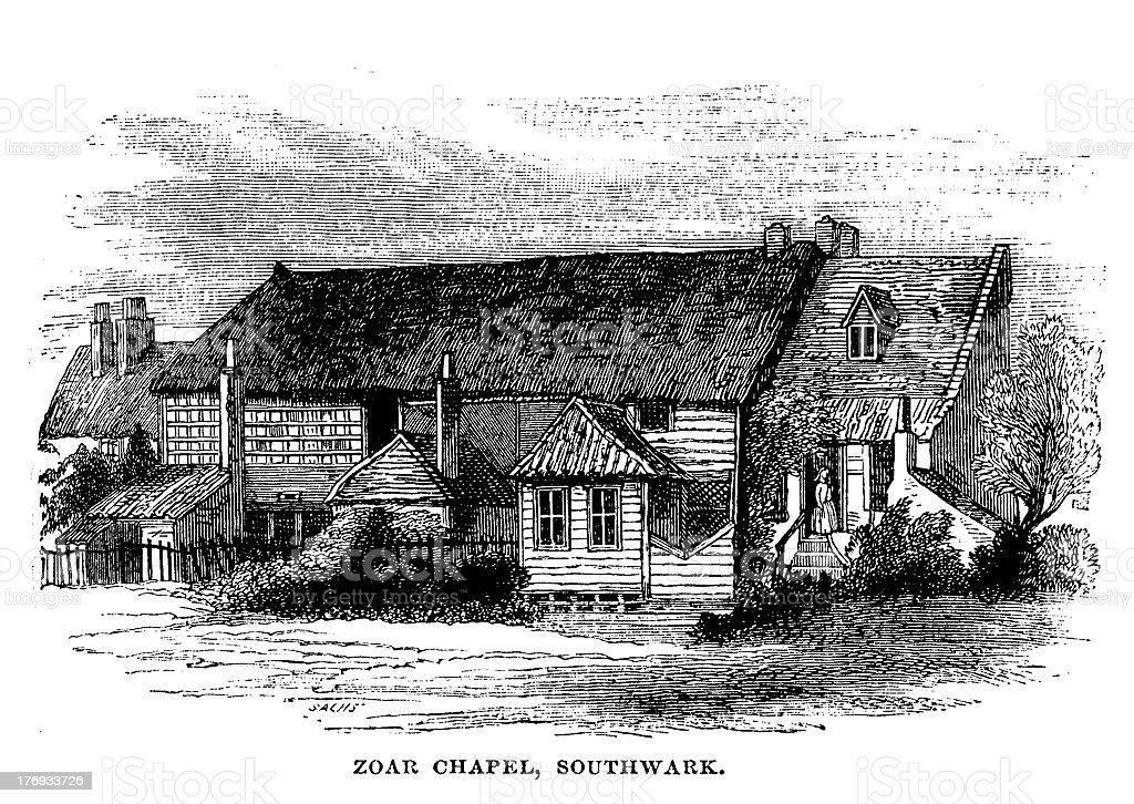 Zoar chapel, southwark, London from 1880 journal royalty-free stock vector art