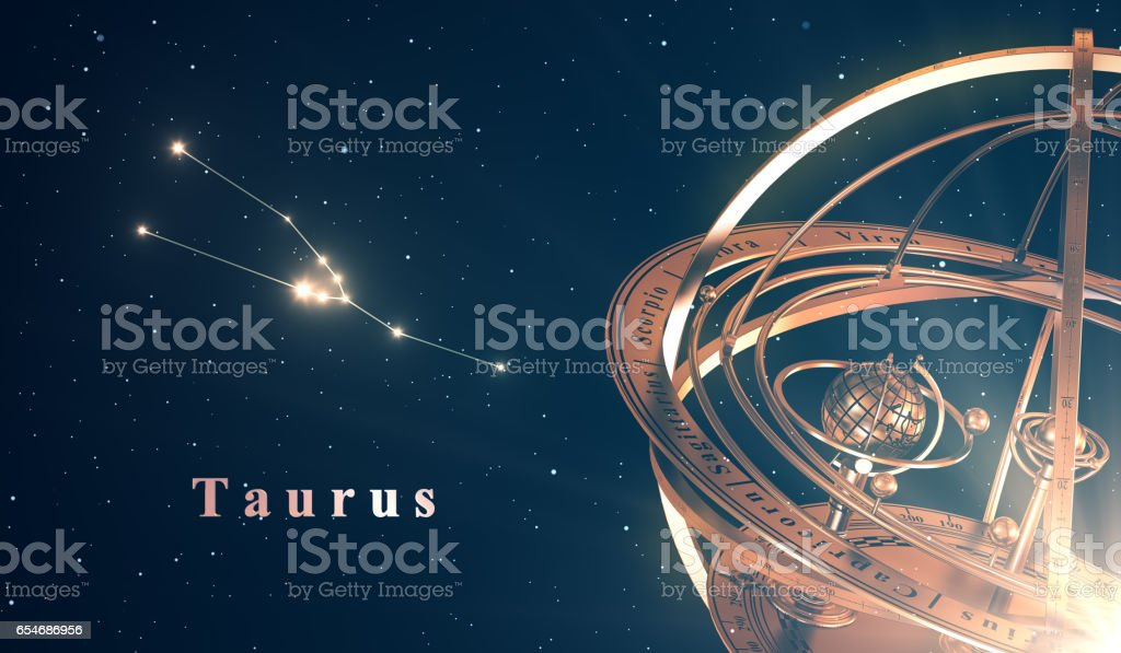 Zodiac Constellation Taurus And Armillary Sphere Over Blue Background vector art illustration