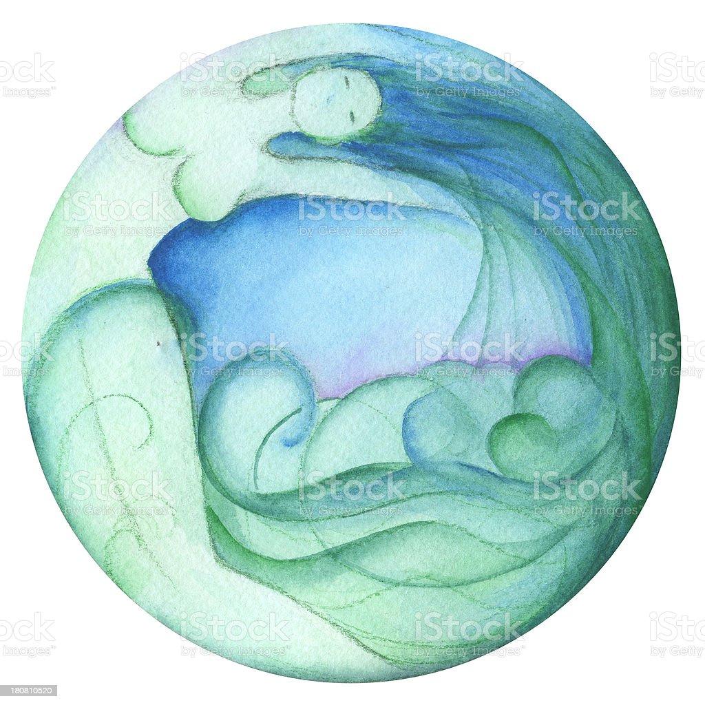 Símbolo do Zodíaco: Aquário - ilustração de arte vetorial