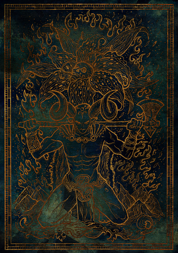 Zodiac sign Aries on blue mystic texture background