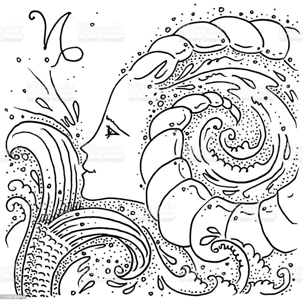 Signe Du Zodiaque Capricorne Noir Et Blanc Dessin Fille Avec
