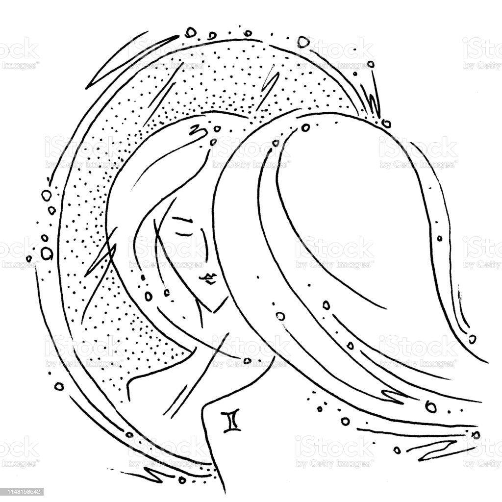 Signe Du Zodiaque Gemini Noir Et Blanc Dessin Fille à La