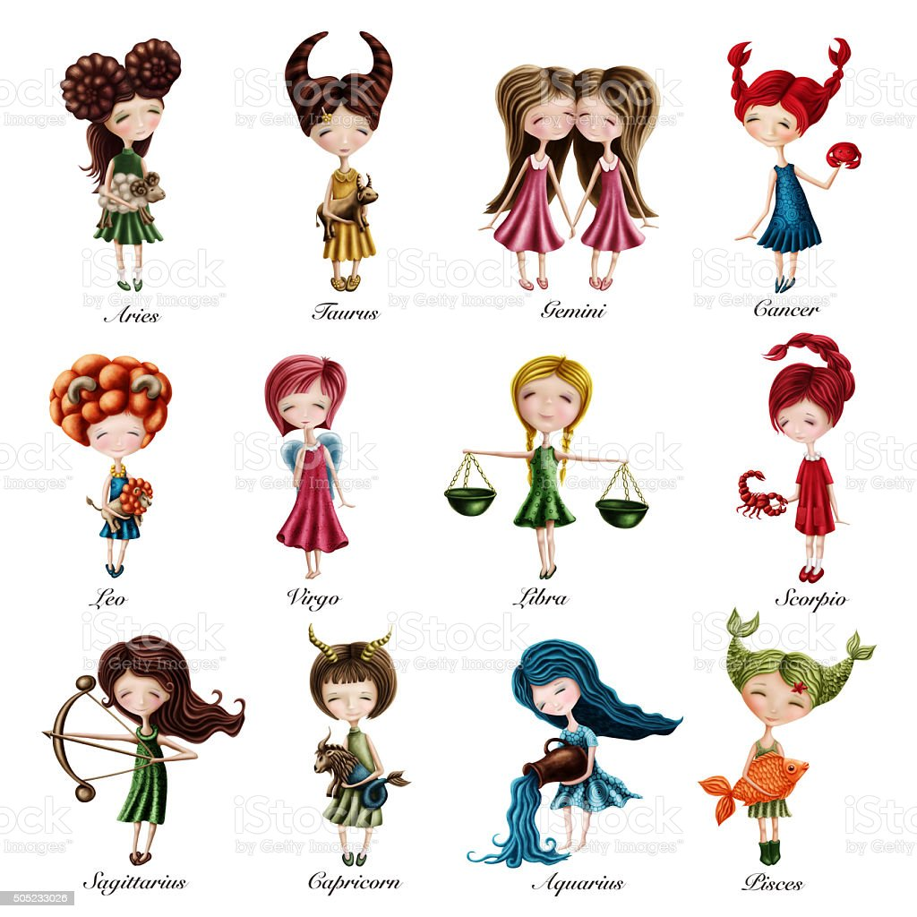 Zodiac sign girls vector art illustration
