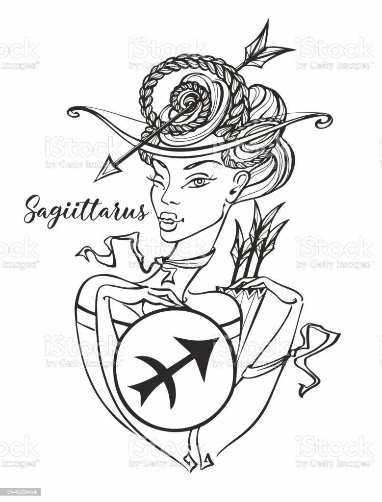 Sternzeichen Schütze Ein Schönes Mädchen Horoskop Astrologie Färbung ...