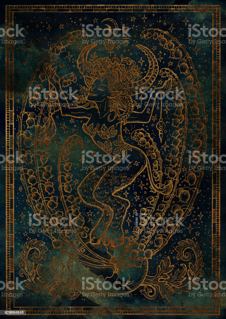 Zodiac sign Taurus or Bull on blue mystic texture background vector art illustration