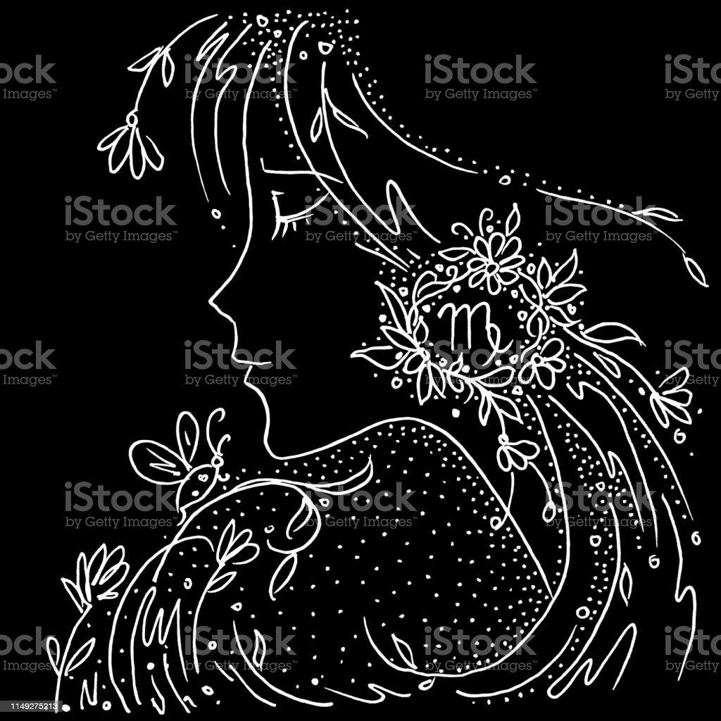 Signe Du Zodiaque Vierge Dessin Noir Et Blanc Fille Avec Des