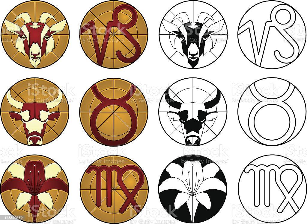 zodiac signs- earth royalty-free stock vector art